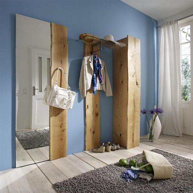 Garderobenpaneel Woodkid (mit Glasablage) - Eiche massiv - geölt