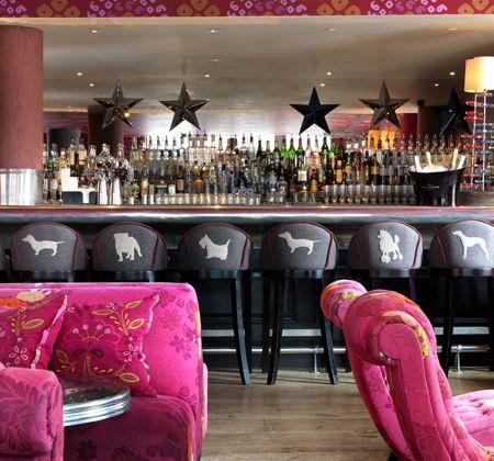 Kit Kemp: Firmdale Hotels Bars stools. Pink.
