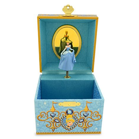 Disney Cinderella Musical Jewelry Box | Disney StoreCinderella Musical Jewelry Box - Tuck treasures away safely ever after in this musical jewelry box. Cinderella gazes out from the decorative lid which opens to the melody of <i>So This is Love</i> to reveal a tiny sculptured figure pirouetting before a mirror.