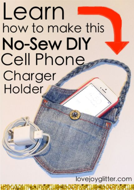 No-Sew DIY Cell Phone Charger Holder                                                                                                                                                                                 More