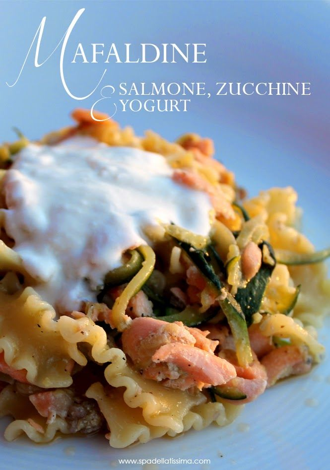 Mafaldine salmone, zucchine e salsa allo yogurt