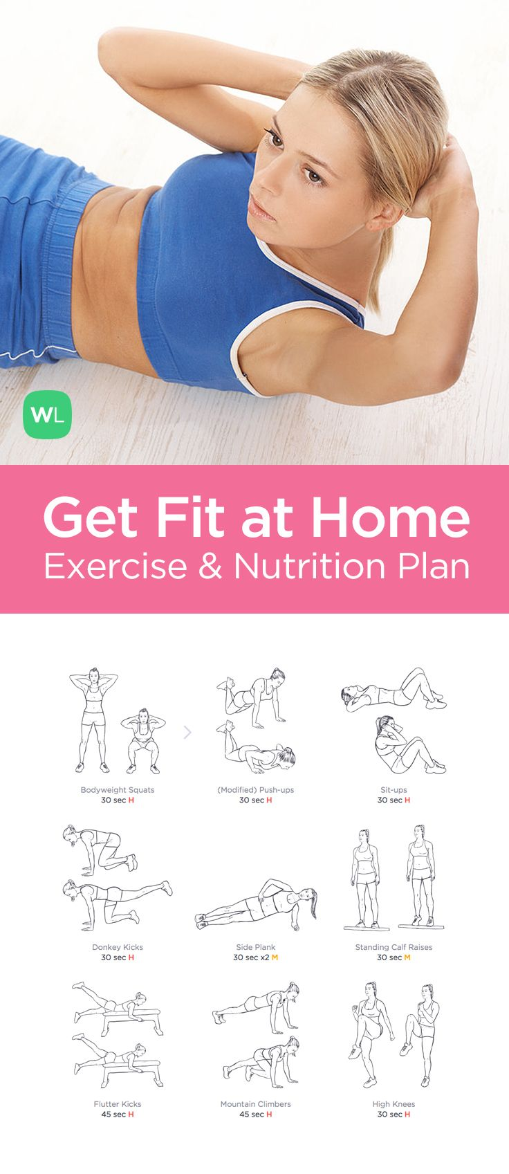 A simple at home workout program that will help you lose 10-15 pounds with illustrated 20-minute no equipment workouts and nutrition advice you will enjoy following.