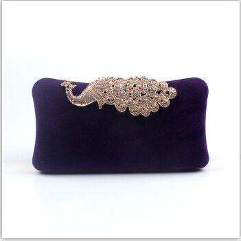 Women Evening Bag/ Clutch Handbag Rhinestone Peacock Purse