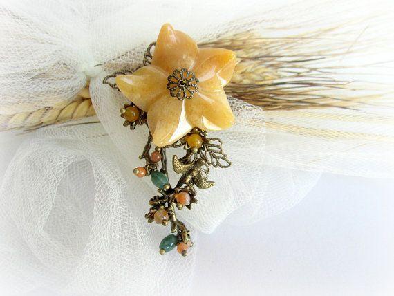 Floral brooch gemstones brooch branch brooch by MalinaCapricciosa