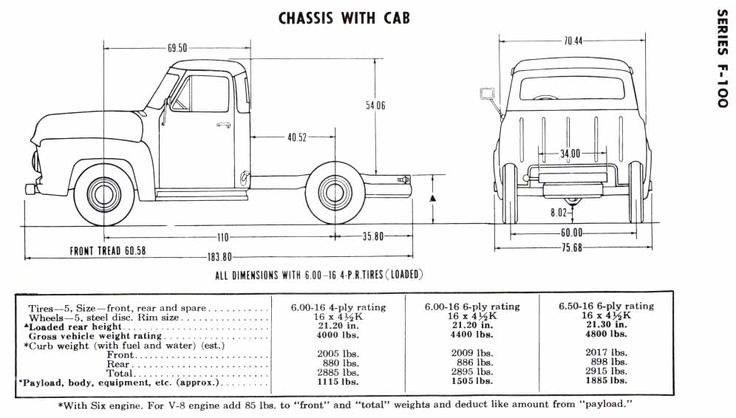 1956 f100 chasis with cab