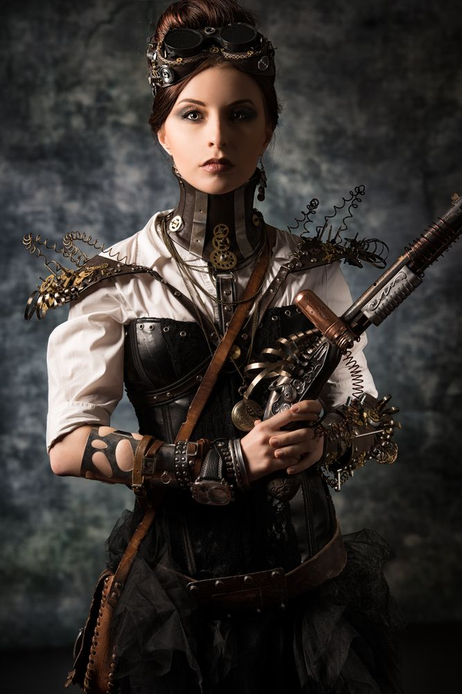 Armed Steampunk Girl.