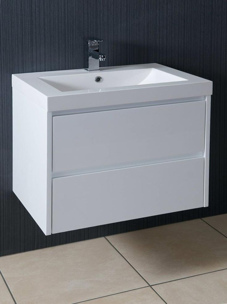 Galloway 600mm wall hung vanity unit and basin gloss white - Designer wall hung bathroom vanity units ...