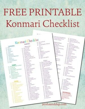 """The Life-Changing Magic of Tidying Up"" printable checklist mariekondo konmari komono"