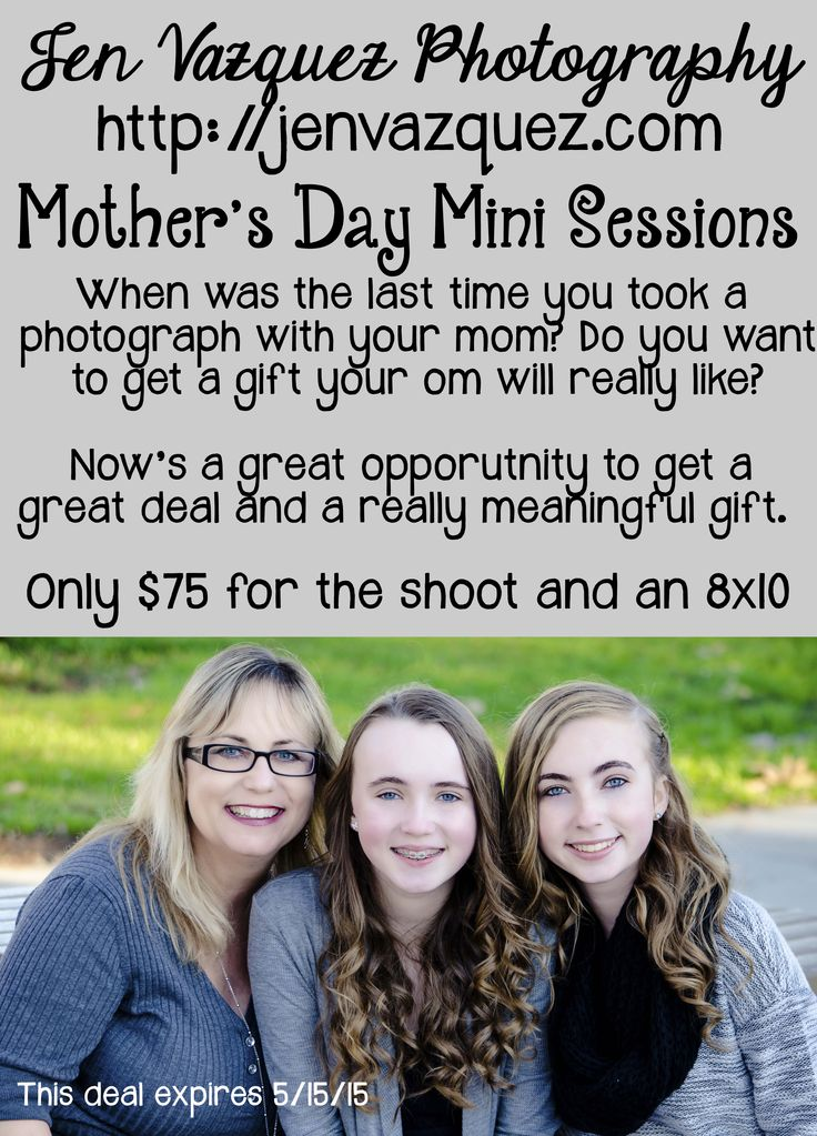 Mother's Day Mini Sessions! When was the last time you took a professional Photograph with your mom? Do you want a gift your mom will actually like? More information http://jenvazquez.com/mothers-day-mini-session/