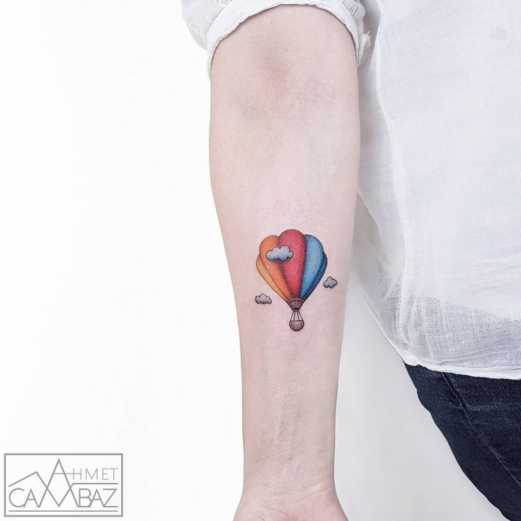 Little Hot Air Balloon Tattoo by Ahmet Cambaz