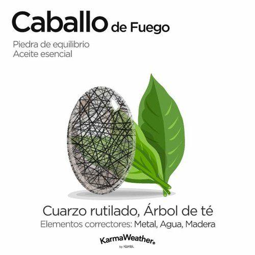 Curación energética y aromaterapia para el Caballo de Fuego - Cuarzo rutilado #PiedraPreciosa y Árbol de té #AceiteEsencial