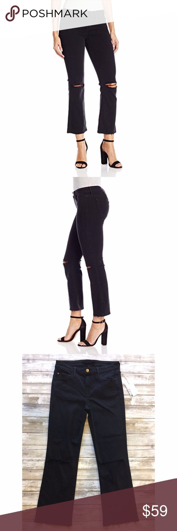 """New JOE'S Flawles OLIVIA Crop Flare Emilie 84325 Brand new with tags You'll look and feel amazing in these ultra-flattering mid-rise jeans.  Frayed, ripped knees and ragged hems define the edgy character of trend-right cropped flare jeans cast in a cool faded-black wash. 56% Rayon / 25% Cotton / 18% Polyester / 1% Spandex Made in Mexico  Size Conversion Guide: 24=00, 25=0, 26=2, 27=4, 28=6, 29=8, 30=10, 31=10-12, 32=12   MEASUREMENTS Waist:  14"""" flat across Rise:  9"""" Inseam: 27""""   Thank You…"""