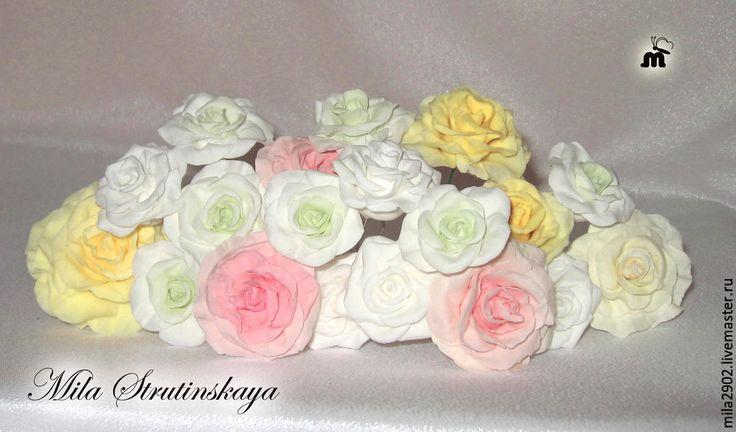 Купить Шпилька для волос,в прическу невесты белого цвета из полимерной глины - белый, молочный