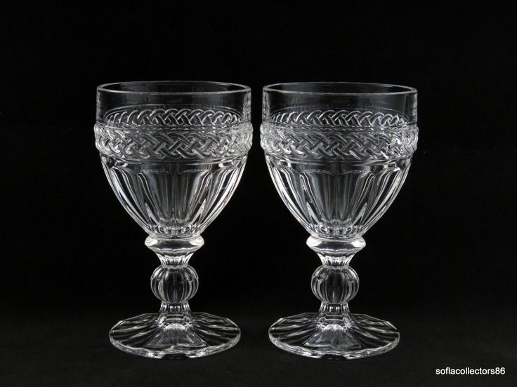 towle crystal water goblets water glasses with braided pattern and panels vintage 1960s stemware