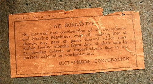 dictaphone guarentee by bfrenchau, via Flickr