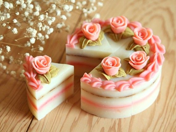 "Roses and Cream Layered Cake - 4"" Cold Process Soap----How Beautiful"