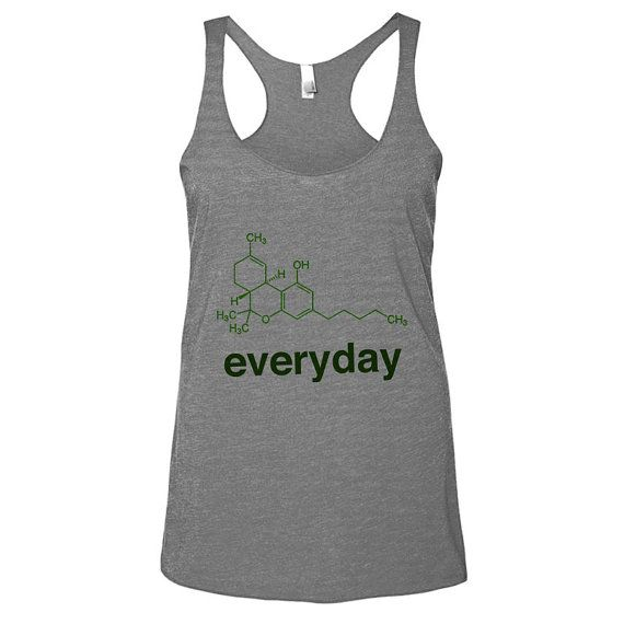 Weed Science THC Womens Athletic Grey Racerback by WildYouthTees Awesome graphic tees for adults and children who can't even right now.Featuring aliens, coffee, wine, sarcastic sayings, fandom, and a sloth eating cereal.