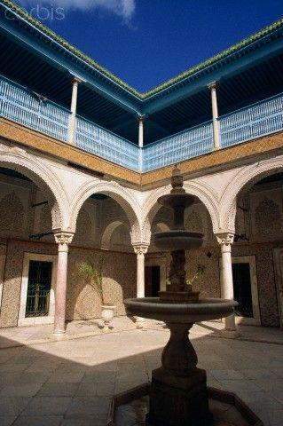 Central courtyard, Dar Ben Abdallah Palace, Tunis, Tunisia