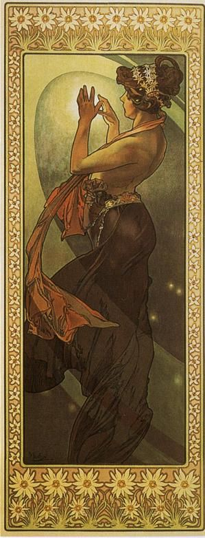"""Pole Star"" from ""The Moon and the stars Series"" (1902) by Alfons Maria Mucha (24 July 1860—14 July 1939), known in English as Alphonse Mucha, was a Czech Art Nouveau painter and decorative artist, known best for his distinct style. He produced many paintings, illustrations, advertisements, postcards, and designs."