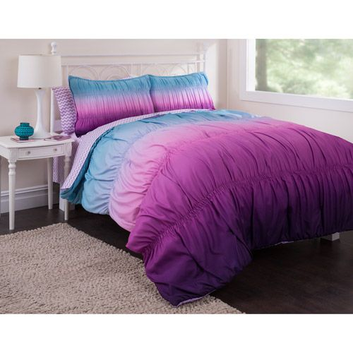 Latitude Ombre Ruched Reversible Complete Bedding Set, Purple: Teen Rooms : Walmart.com