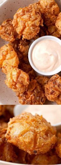 These Bite-Sized Blooming Onions from Macheesmo are so much better than the full-sized version. Each bite has a crispier crust which is perfect for dipping!