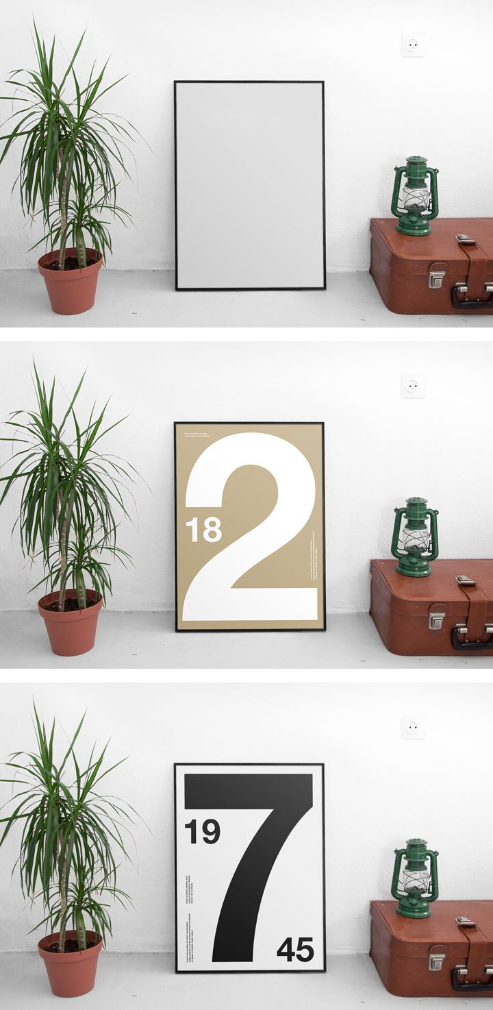 This free Poster Mockup allows you to showcase your poster or artwork in a realistic interior. Select the smart object and insert your design into it.