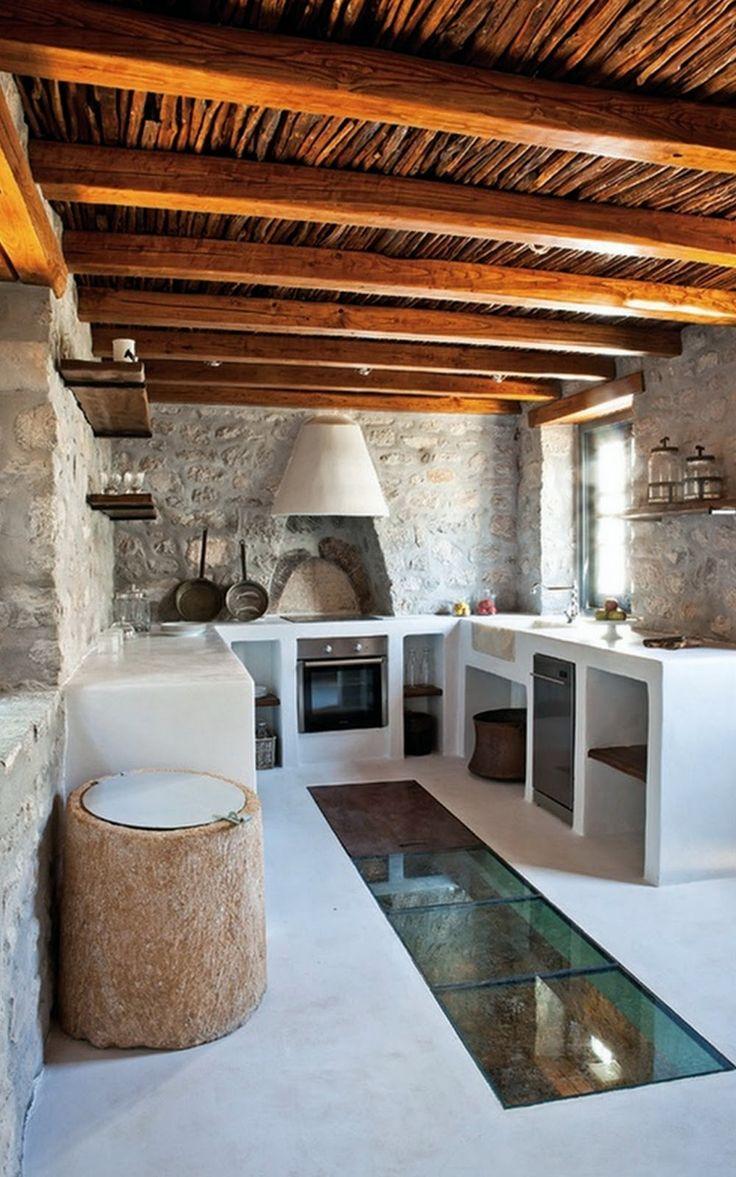 Cozinha r stica com m veis de alvenaria e ch o de vidro - Casitas rusticas de campo ...