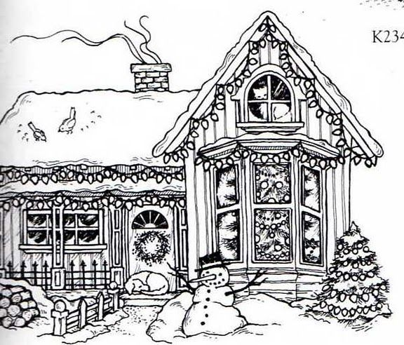 christmas village houses coloring pages - photo#28