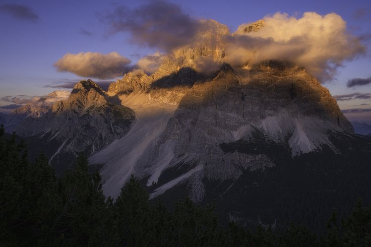 Mount Pelmo during sunset viewed from mount Crot near Passo Staulanza