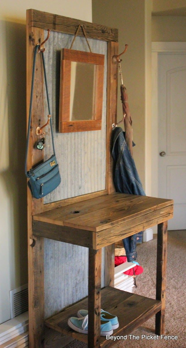 I'm not the only one who loves corrugated tin! :) Beyond The Picket Fence: Rustic Hall Tree