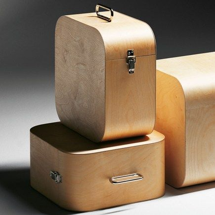 Supremely chique handmade birch LP record storage boxes, designed and made by Finish designer Harri Koskinen.
