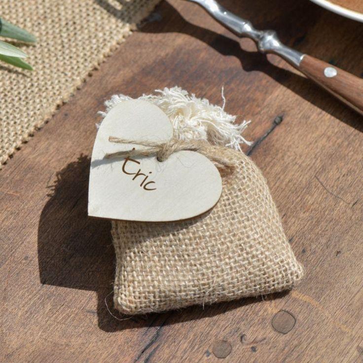 Jutesäckchen mit Fransen,10 x 7,5 cm, 4 Stück