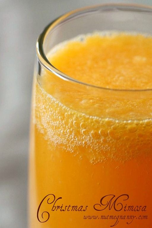 Christmas Mimosa 3 parts champagne to 1 part orange juice. I like drinking mine a wine glass. It holds more :)