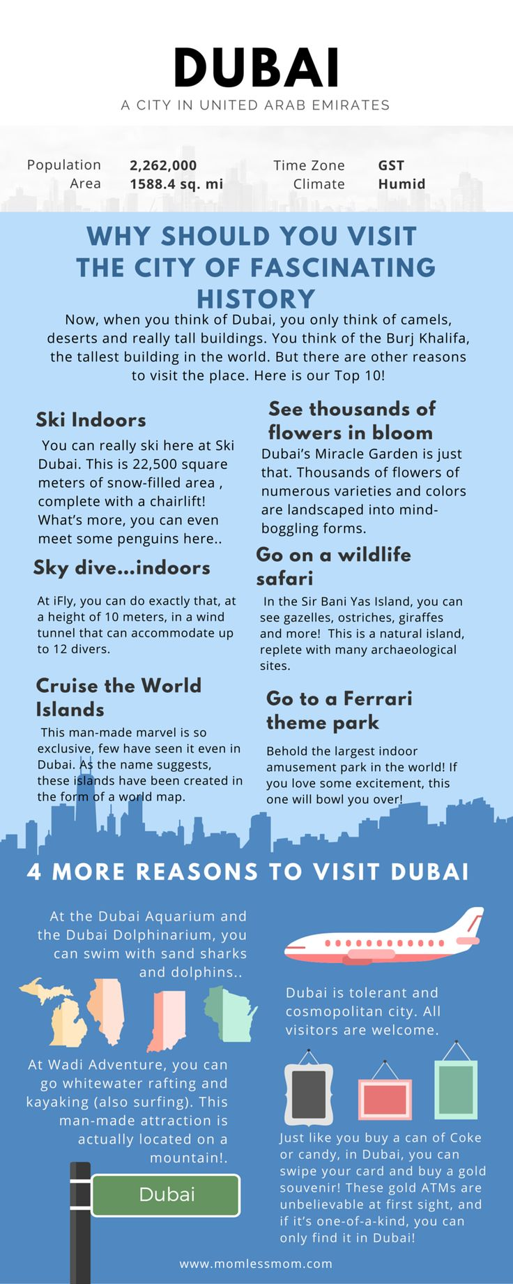 Here are the reasons to visit Dubai- You may be surprised reading some of the facts! http://momlessmom.com/10-things-to-do-in-dubai-for-fun/ #TravelDubai
