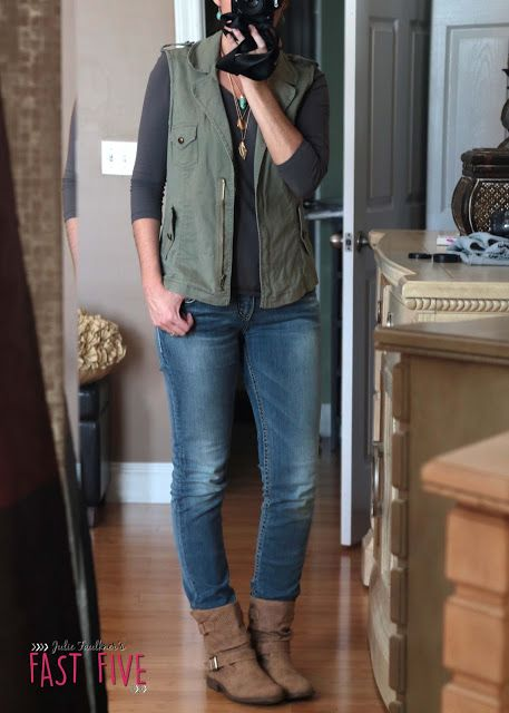 Fall Teacher Outfits, Casual Friday, Jeans Day Ideas   Jeans   Booties   Olive Military Vest                                                                                                                                                      More