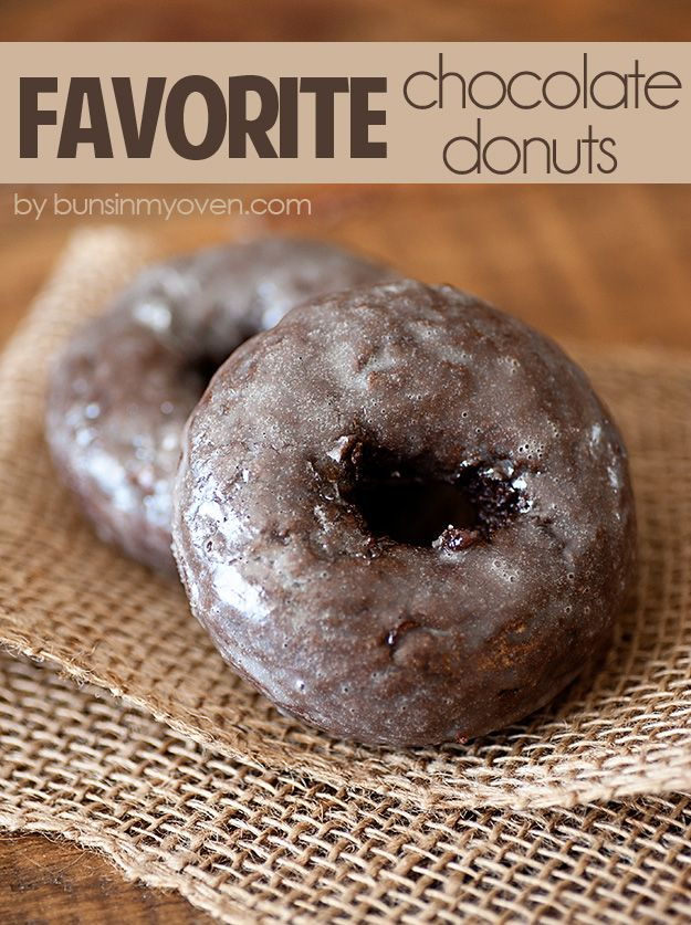Baked Glazed Chocolate Cake Donuts - my favorite recipe! Just as fluffy and moist as a chocolate cake.