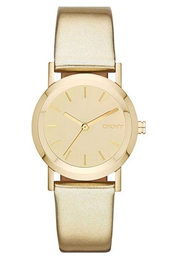 DKNY Mirror Dial Metallic Leather Strap Watch, 28mm available at #Nordstrom