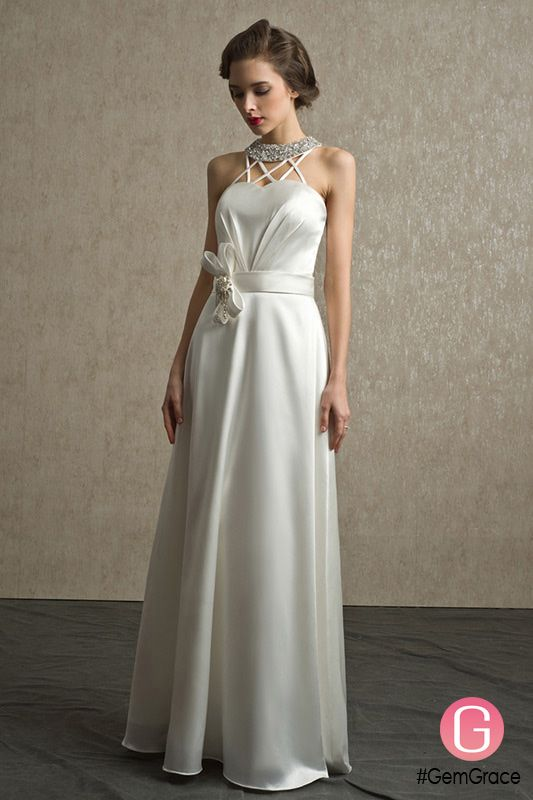 Vintage Sequined Halter Ivory Satin Wedding Dress Floor Length Bs058 178 9 Gemgrace Com Cheap Bridesmaid Dresses Uk Online Wedding Dress Bridesmaid Dresses Uk