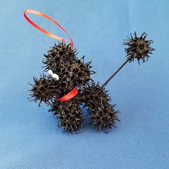 Sweetie Poodle Handmade Sweet Gum Ball Christmas Ornament Sweet