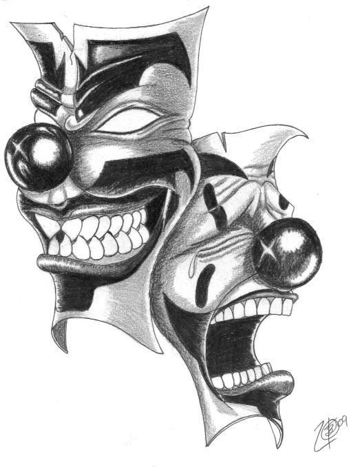 LaughNowCryLaterClownMaskTattooDesignsTattoobite