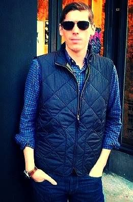 Brooks Brother's sun glasses, J.Crew quilted vest, 32 degree watch, EXPRESS Pants.