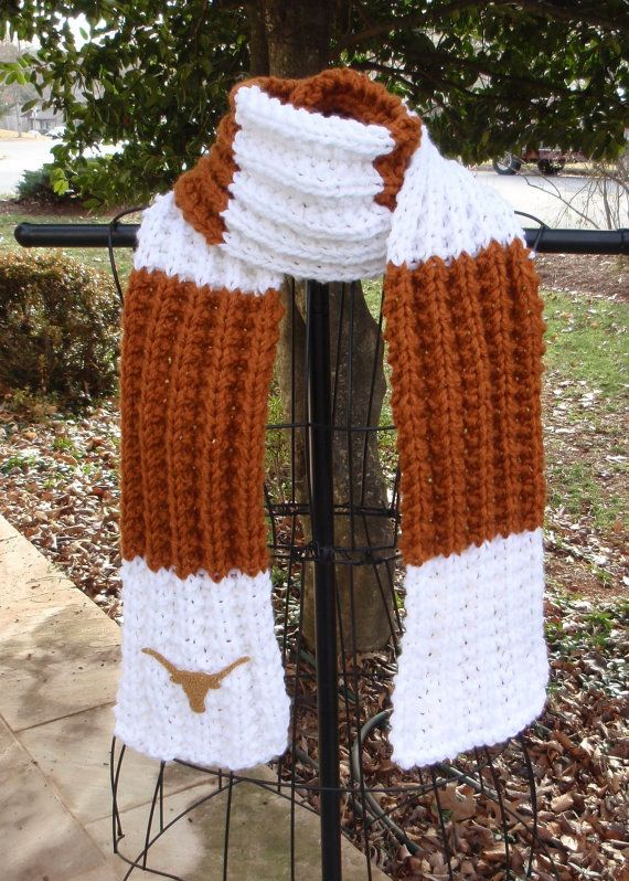University of Texas Longhorns themed Hand Knit Scarf by Tibbymc, $35.00