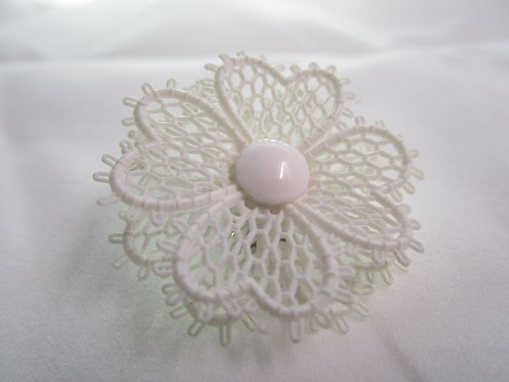 Vintage Crocheted Flower earring by NovemberSunset on Etsy