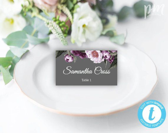 Gray and Plum Wedding Place Cards, Gray Escort Cards, Printable