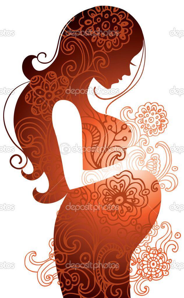 silueta de mujer embarazada - Ilustración de stock: 7398085