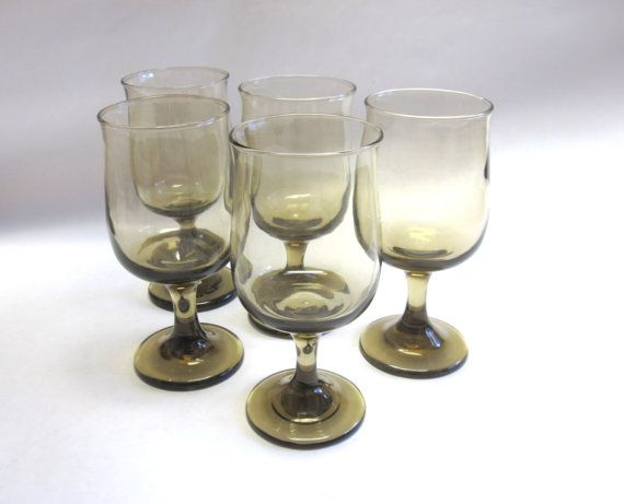 Smokey Brown Drinking Glasses Wine Glass Set of by sweetie2sweetie