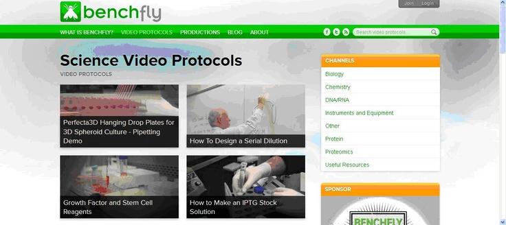 Benchfly es una página web con vídeos sobre protocolos de laboratorio.
