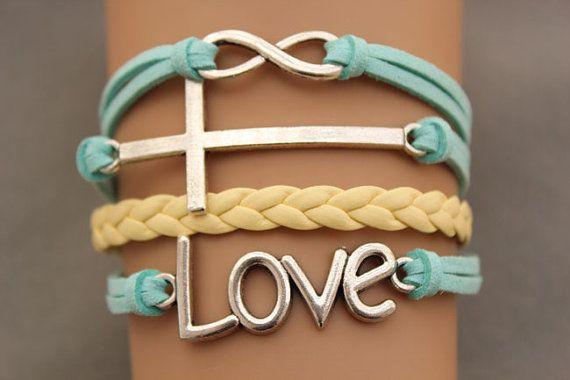 Love karma Cross bracelet infinity bracelet antique silver pendant,green rope and yellow braid bracelet(AB026) on Etsy, $6.99