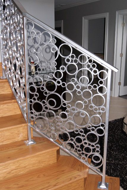interior stair railing made of metal circles