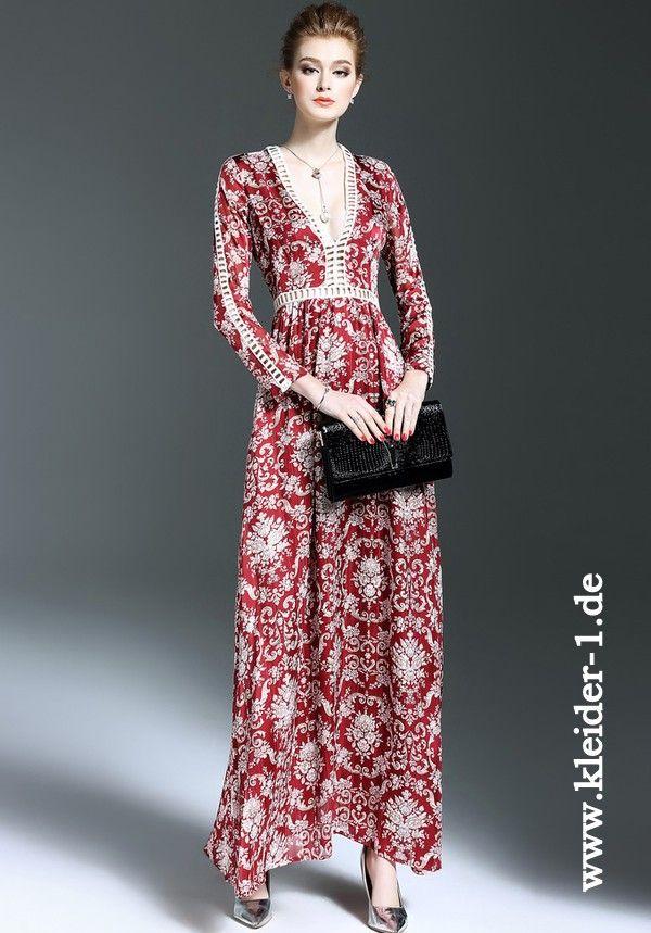 Elegantes Sommer Blumenkleid in Rot